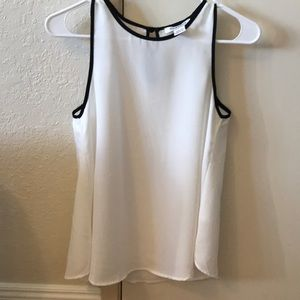 XS Glamorous White Black Trim Sleeveless Top